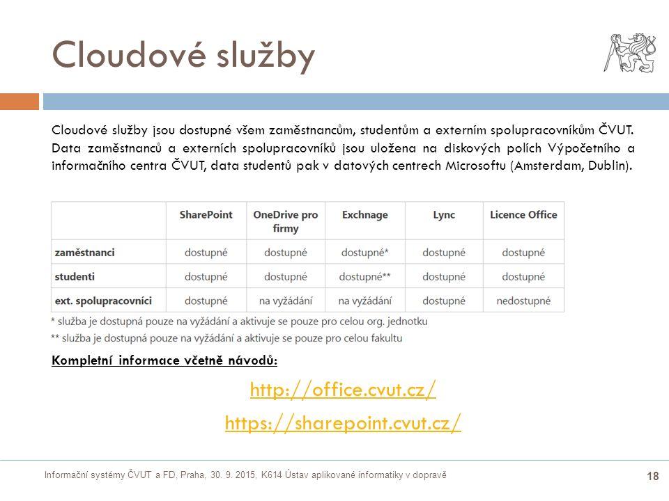 Informační systémy ČVUT a FD, Praha, 30. 9. 2015, K614 Ústav aplikované informatiky v dopravě 18 Cloudové služby  Cloudové služby jsou dostupné všem