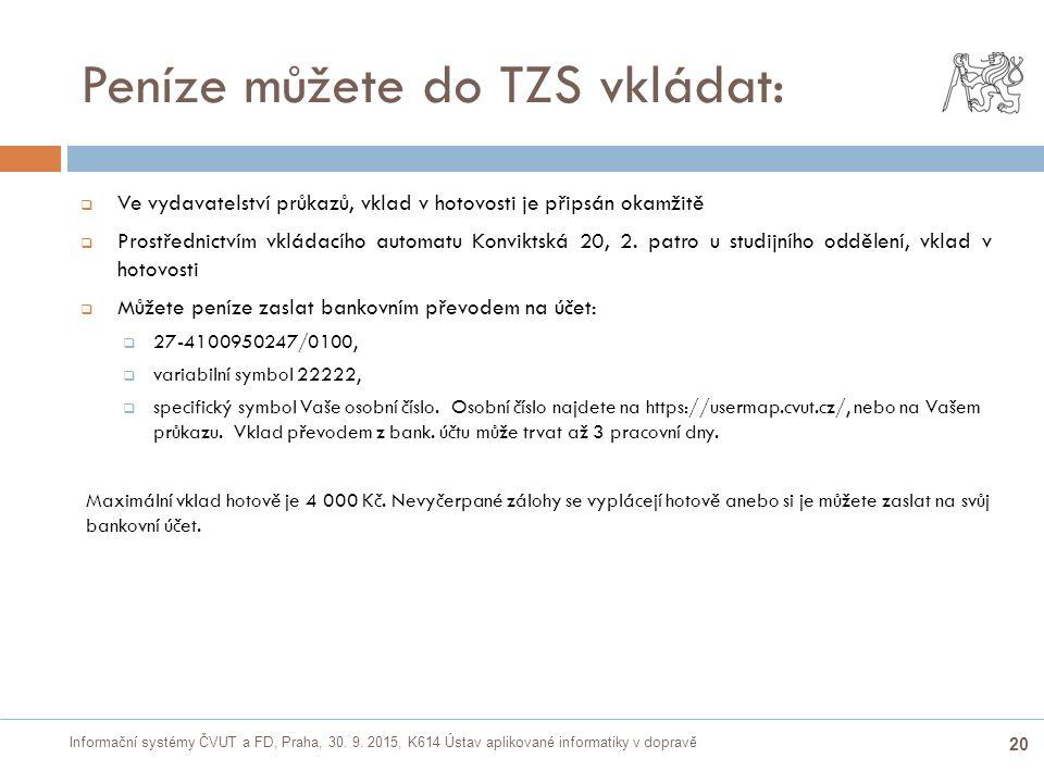 Informační systémy ČVUT a FD, Praha, 30. 9. 2015, K614 Ústav aplikované informatiky v dopravě 20 Peníze můžete do TZS vkládat:  Ve vydavatelství průk