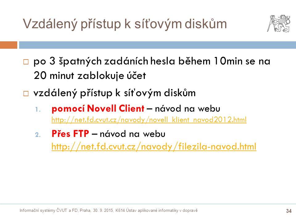 Informační systémy ČVUT a FD, Praha, 30. 9. 2015, K614 Ústav aplikované informatiky v dopravě 34 Vzdálený přístup k síťovým diskům  po 3 špatných zad