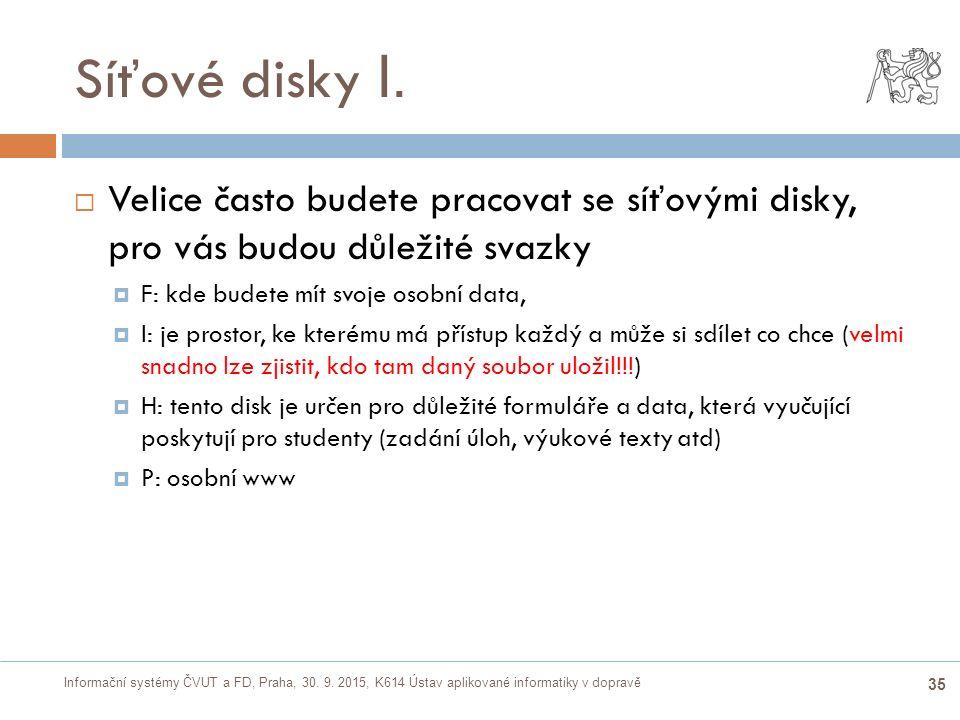Informační systémy ČVUT a FD, Praha, 30. 9. 2015, K614 Ústav aplikované informatiky v dopravě 35 Síťové disky I.  Velice často budete pracovat se síť