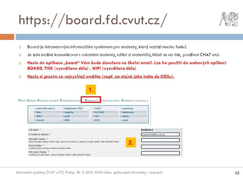 Informační systémy ČVUT a FD, Praha, 30. 9. 2015, K614 Ústav aplikované informatiky v dopravě 42 https://board.fd.cvut.cz/  Board je intranetovým inf