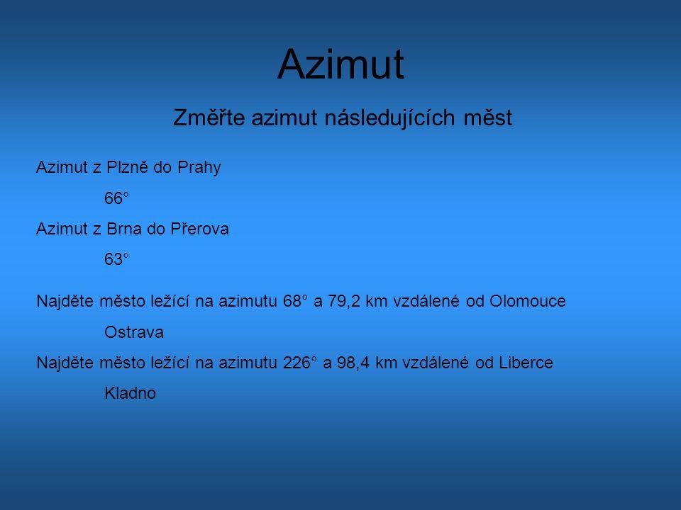 Azimut Změřte azimut následujících měst Azimut z Plzně do Prahy 66° Azimut z Brna do Přerova 63° Najděte město ležící na azimutu 68° a 79,2 km vzdálené od Olomouce Ostrava Najděte město ležící na azimutu 226° a 98,4 km vzdálené od Liberce Kladno