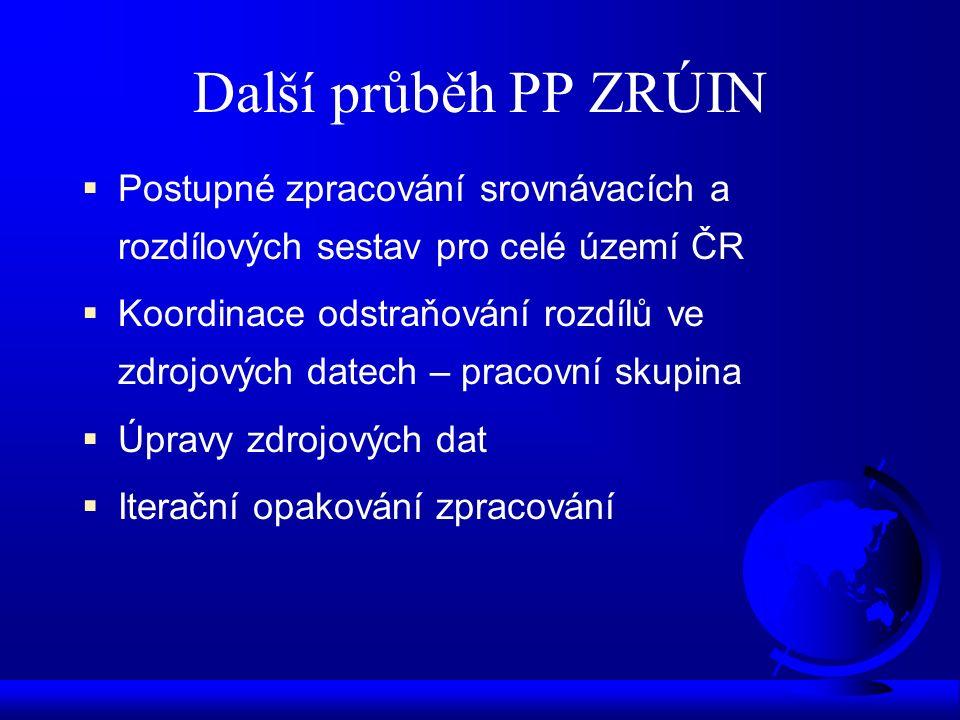 Další průběh PP ZRÚIN  Postupné zpracování srovnávacích a rozdílových sestav pro celé území ČR  Koordinace odstraňování rozdílů ve zdrojových datech