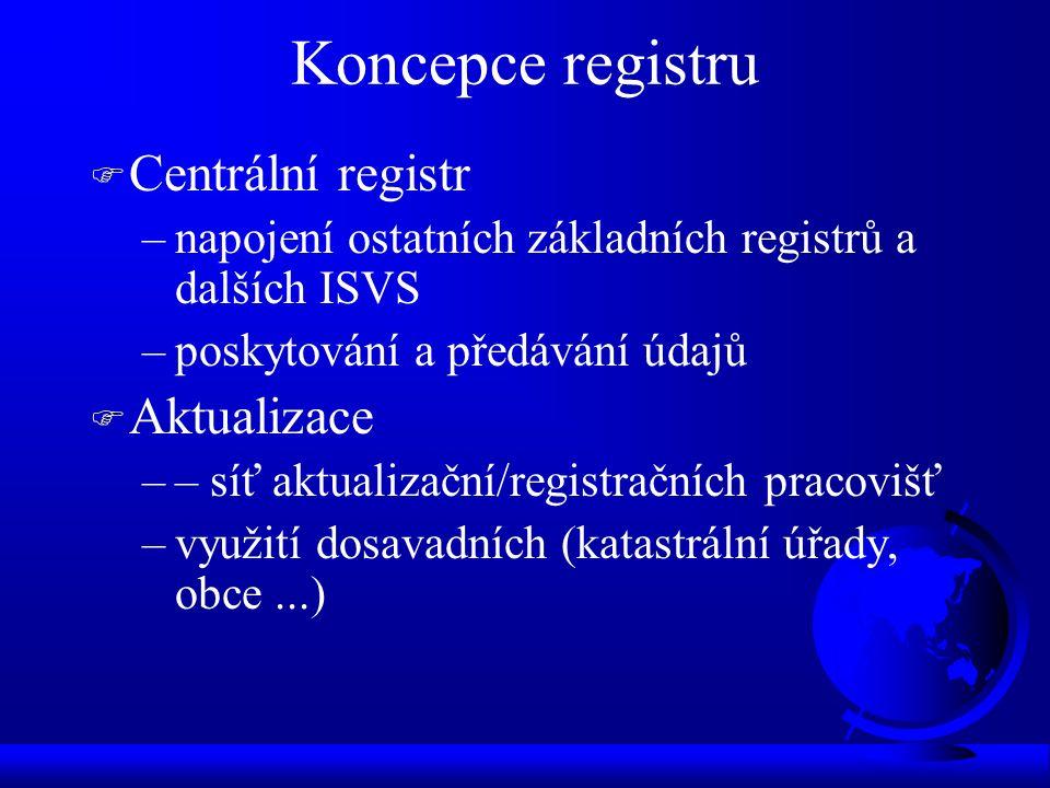 Koncepce registru F Centrální registr –napojení ostatních základních registrů a dalších ISVS –poskytování a předávání údajů F Aktualizace –– síť aktualizační/registračních pracovišť –využití dosavadních (katastrální úřady, obce...)