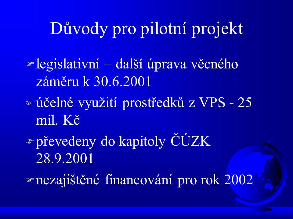 Důvody pro pilotní projekt F legislativní – další úprava věcného záměru k 30.6.2001 F účelné využití prostředků z VPS - 25 mil. Kč F převedeny do kapi