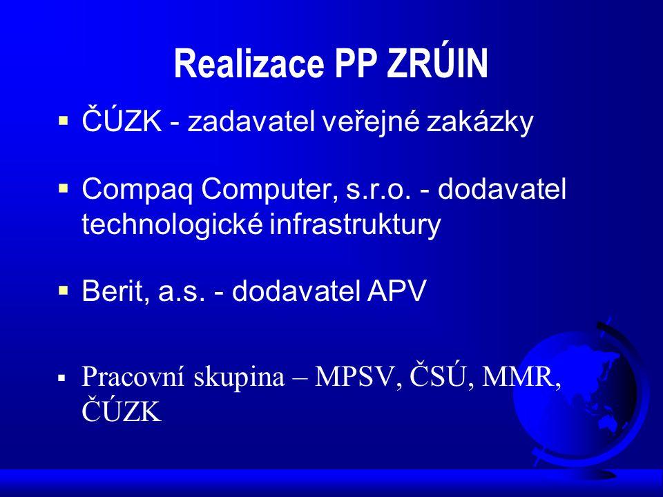 Realizace PP ZRÚIN  ČÚZK - zadavatel veřejné zakázky  Compaq Computer, s.r.o. - dodavatel technologické infrastruktury  Berit, a.s. - dodavatel APV