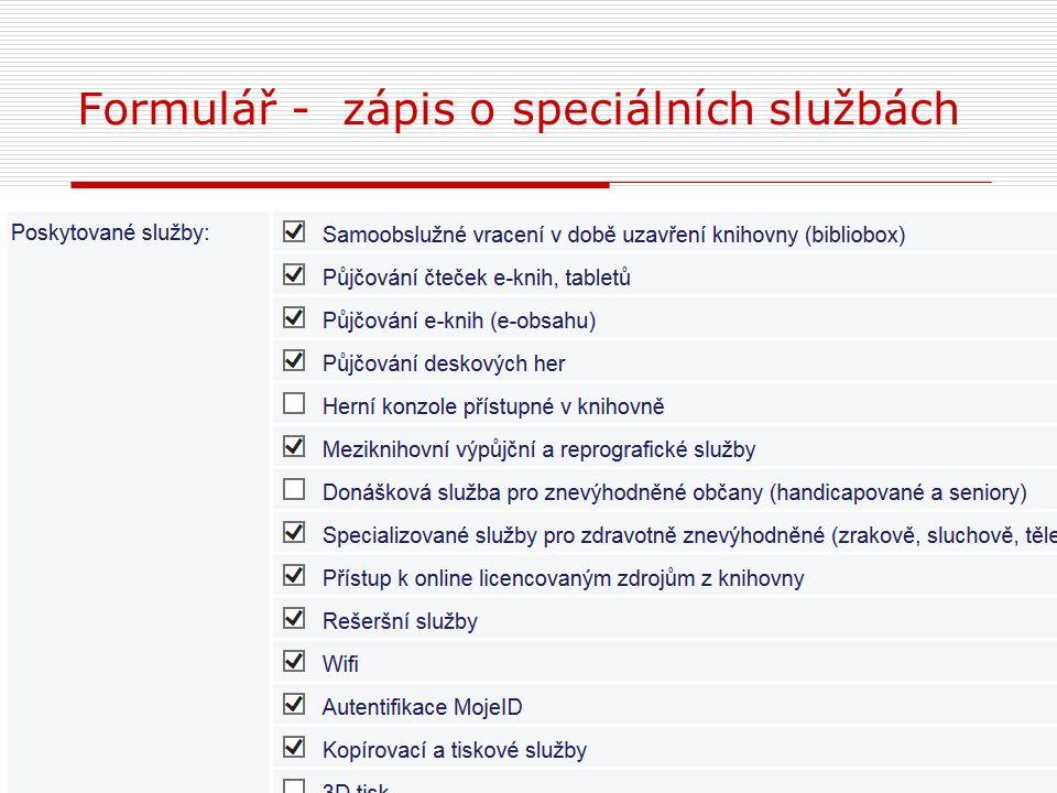 Formulář - zápis o speciálních službách