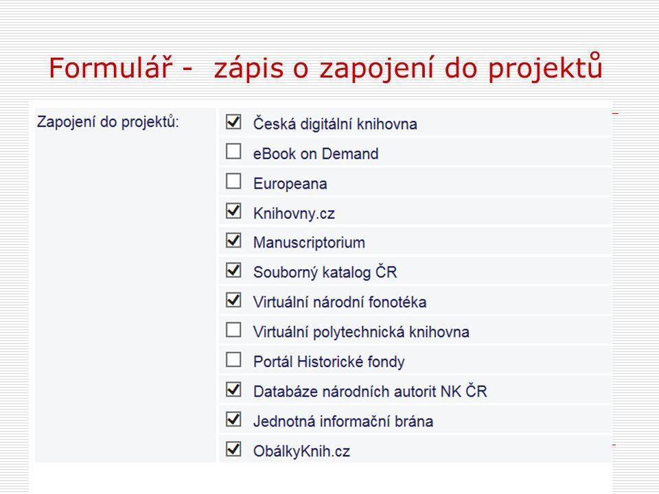 Formulář - zápis o zapojení do projektů