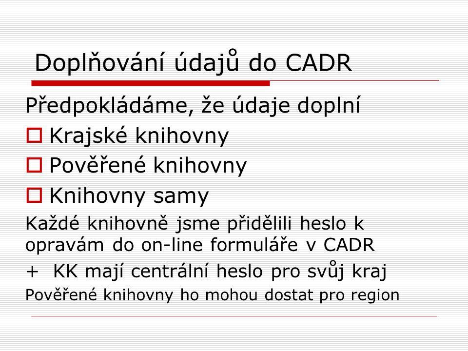 Doplňování údajů do CADR Předpokládáme, že údaje doplní  Krajské knihovny  Pověřené knihovny  Knihovny samy Každé knihovně jsme přidělili heslo k opravám do on-line formuláře v CADR + KK mají centrální heslo pro svůj kraj Pověřené knihovny ho mohou dostat pro region