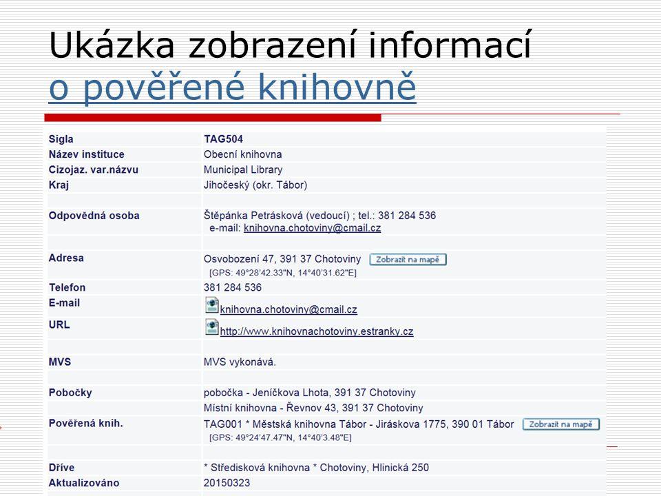 Ukázka zobrazení informací o pověřené knihovně o pověřené knihovně