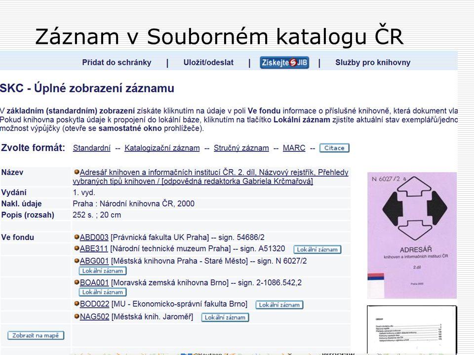 Záznam v Souborném katalogu ČR