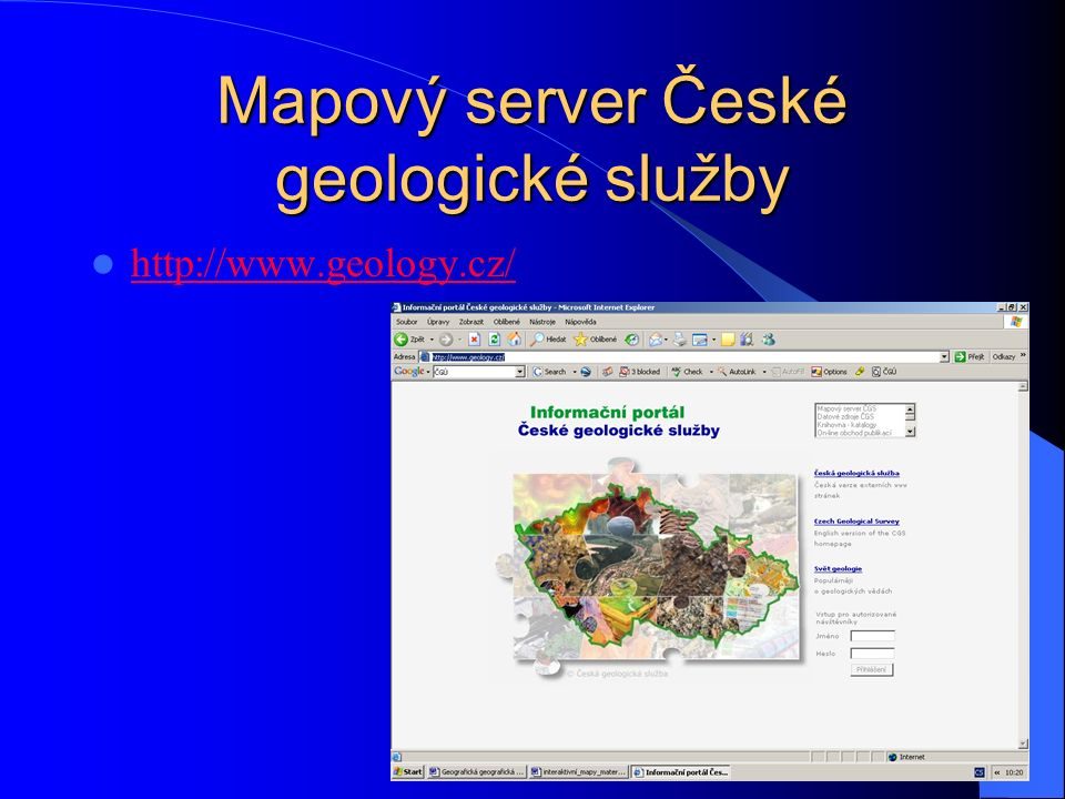 Mapový server České geologické služby http://www.geology.cz/