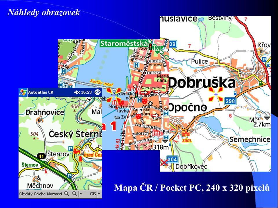 Mapa ČR / Pocket PC, 240 x 320 pixelů Náhledy obrazovek