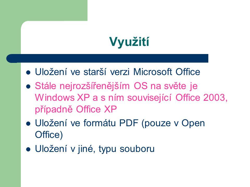 Využití Uložení ve starší verzi Microsoft Office Stále nejrozšířenějším OS na světe je Windows XP a s ním související Office 2003, případně Office XP Uložení ve formátu PDF (pouze v Open Office) Uložení v jiné, typu souboru