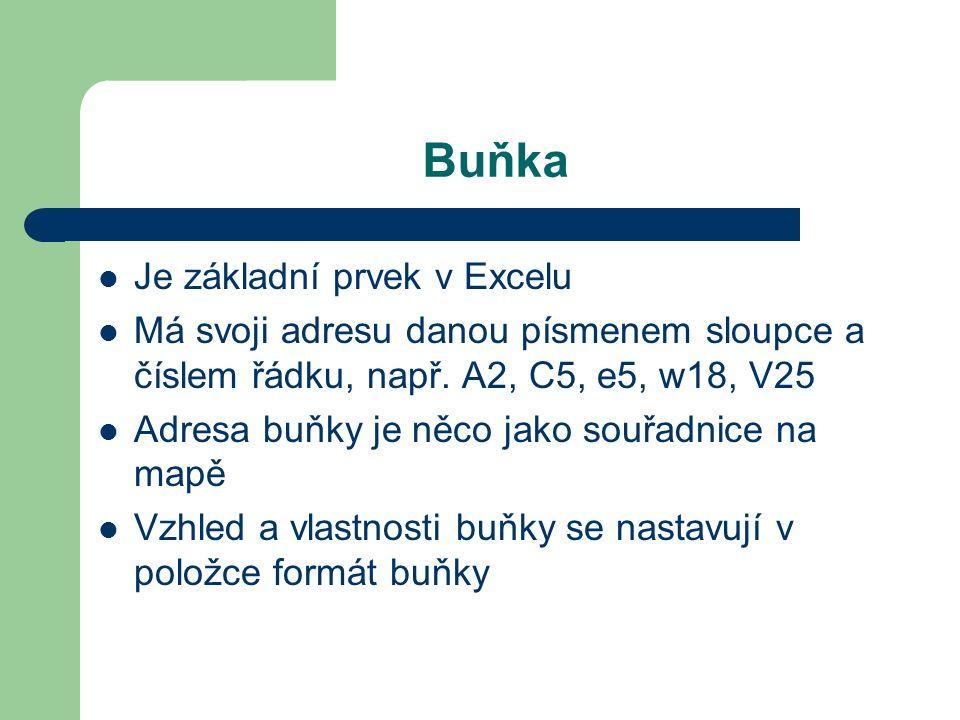 Buňka Je základní prvek v Excelu Má svoji adresu danou písmenem sloupce a číslem řádku, např.