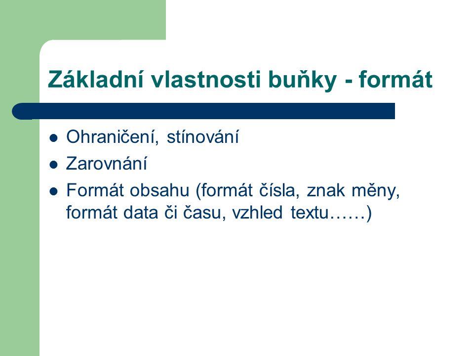 Základní vlastnosti buňky - formát Ohraničení, stínování Zarovnání Formát obsahu (formát čísla, znak měny, formát data či času, vzhled textu……)