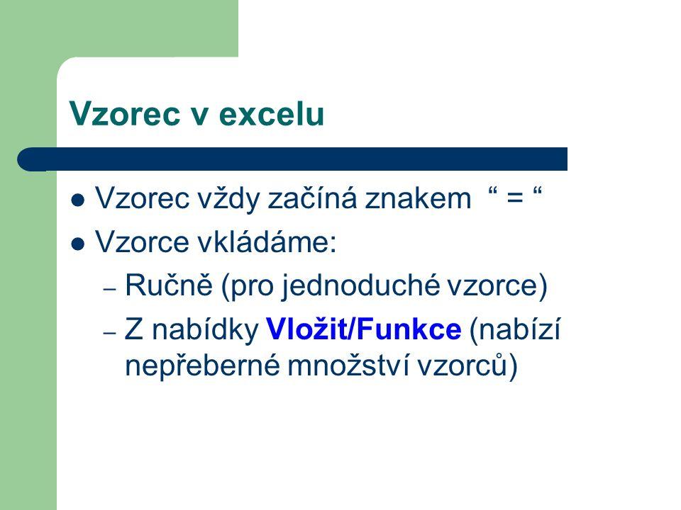 Vzorec v excelu Vzorec vždy začíná znakem = Vzorce vkládáme: – Ručně (pro jednoduché vzorce) – Z nabídky Vložit/Funkce (nabízí nepřeberné množství vzorců)