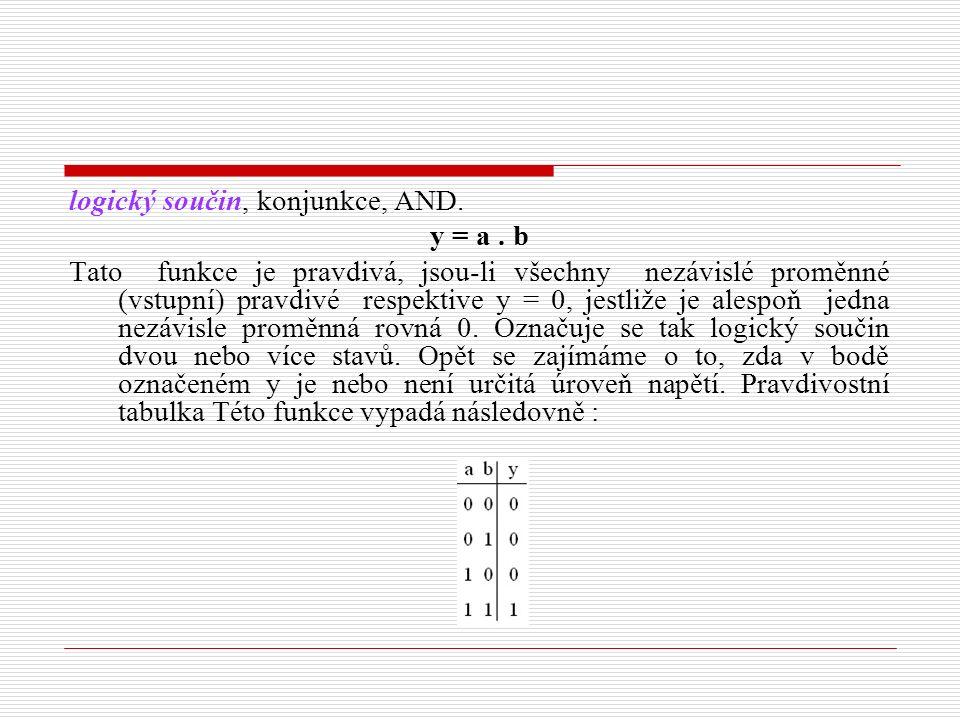 logický součin, konjunkce, AND. y = a. b Tato funkce je pravdivá, jsou-li všechny nezávislé proměnné (vstupní) pravdivé respektive y = 0, jestliže je