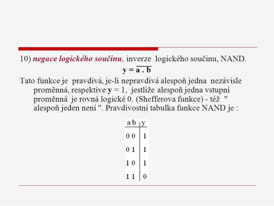 10) negace logického součinu, inverze logického součinu, NAND. y = a. b Tato funkce je pravdivá, je-li nepravdivá alespoň jedna nezávisle proměnná, re