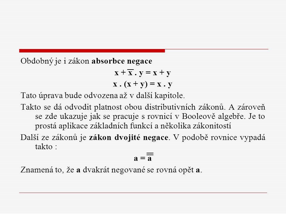 Obdobný je i zákon absorbce negace x + x. y = x + y x. (x + y) = x. y Tato úprava bude odvozena až v další kapitole. Takto se dá odvodit platnost obou