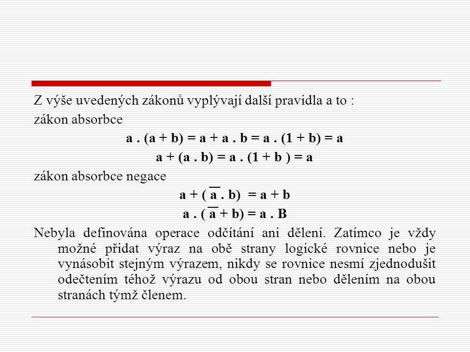 Z výše uvedených zákonů vyplývají další pravidla a to : zákon absorbce a. (a + b) = a + a. b = a. (1 + b) = a a + (a. b) = a. (1 + b ) = a zákon absor