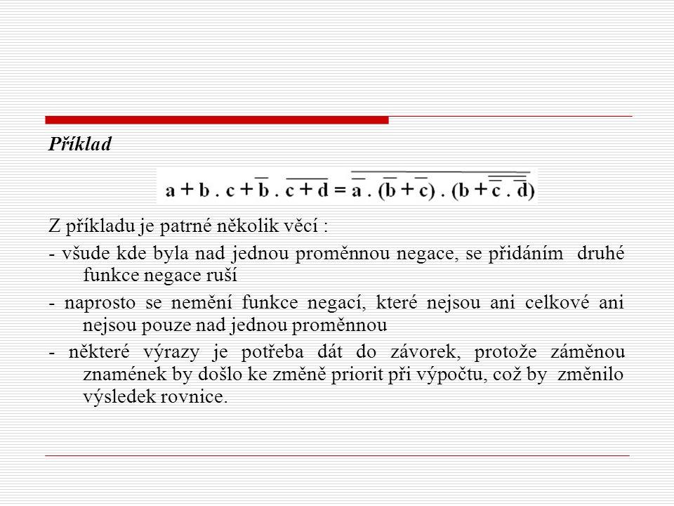 Příklad Z příkladu je patrné několik věcí : - všude kde byla nad jednou proměnnou negace, se přidáním druhé funkce negace ruší - naprosto se nemění fu