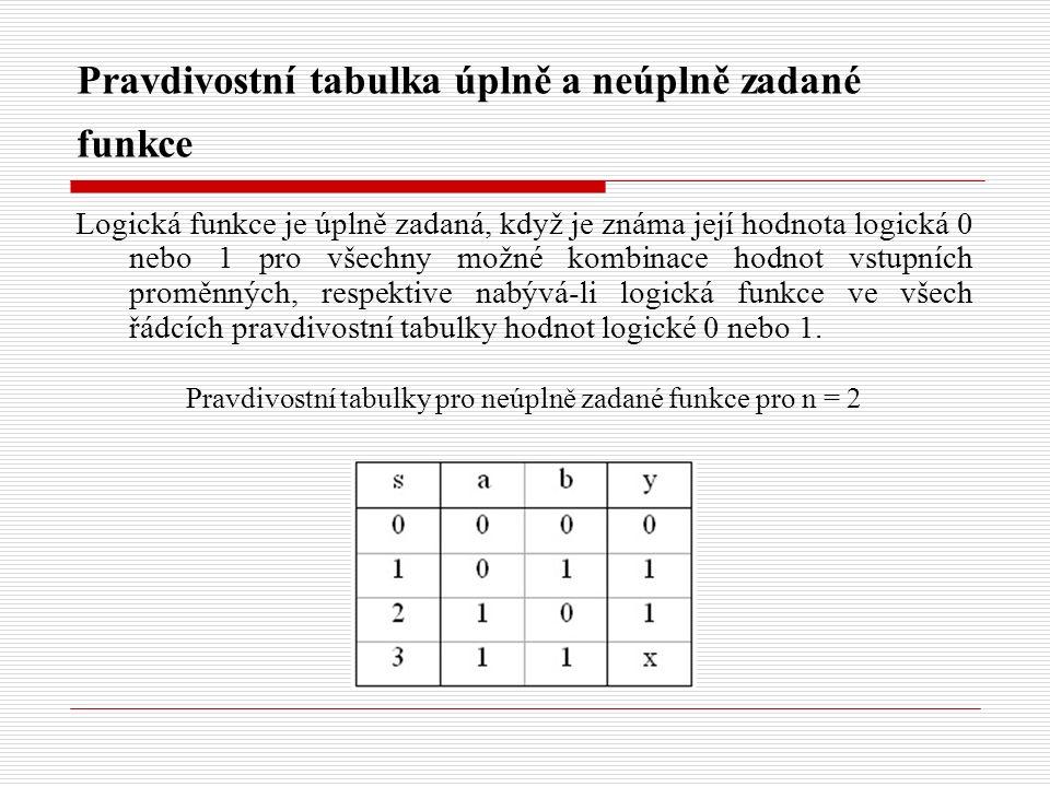 Pravdivostní tabulka úplně a neúplně zadané funkce Logická funkce je úplně zadaná, když je známa její hodnota logická 0 nebo 1 pro všechny možné kombi