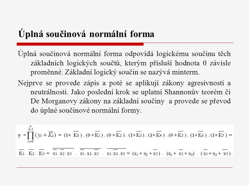 Úplná součinová normální forma Úplná součinová normální forma odpovídá logickému součinu těch základních logických součtů, kterým přísluší hodnota 0 z