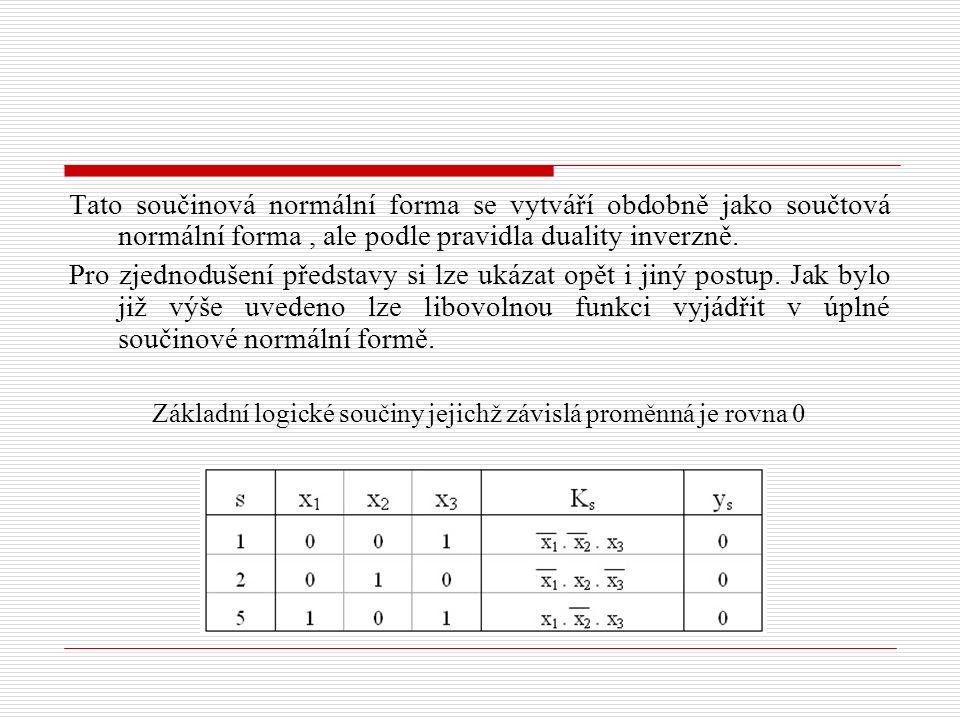 Tato součinová normální forma se vytváří obdobně jako součtová normální forma, ale podle pravidla duality inverzně. Pro zjednodušení představy si lze
