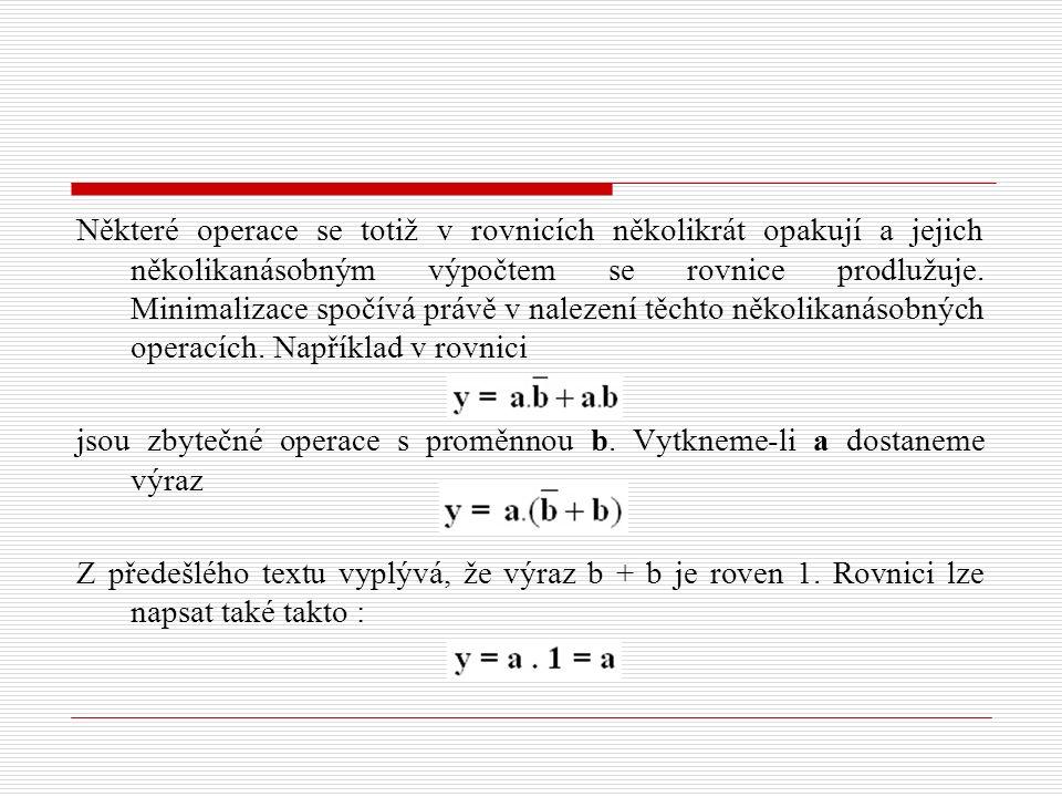 Některé operace se totiž v rovnicích několikrát opakují a jejich několikanásobným výpočtem se rovnice prodlužuje. Minimalizace spočívá právě v nalezen