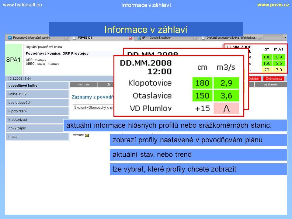 www.hydrosoft.euwww.povis.cz Informace v záhlaví aktuální informace hlásných profilů nebo srážkoměrnách stanic: zobrazí profily nastavené v povodňovém