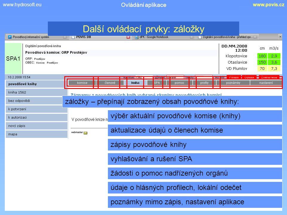www.hydrosoft.euwww.povis.cz Ovládání aplikace záložky – přepínají zobrazený obsah povodňové knihy: výběr aktuální povodňové komise (knihy) aktualizace údajů o členech komise SPA1 zápisy povodňové knihy Další ovládací prvky: záložky vyhlašování a rušení SPA žádosti o pomoc nadřízených orgánů údaje o hlásných profilech, lokální odečet poznámky mimo zápis, nastavení aplikace