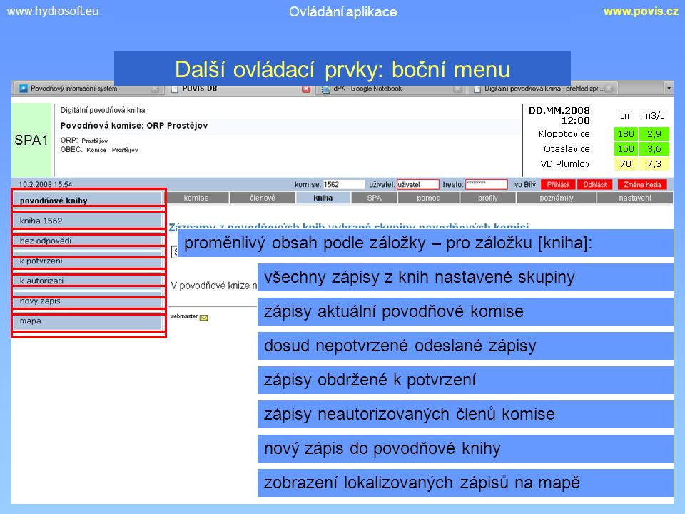 www.hydrosoft.euwww.povis.cz Ovládání aplikace proměnlivý obsah podle záložky – pro záložku [kniha]: všechny zápisy z knih nastavené skupiny zápisy ak