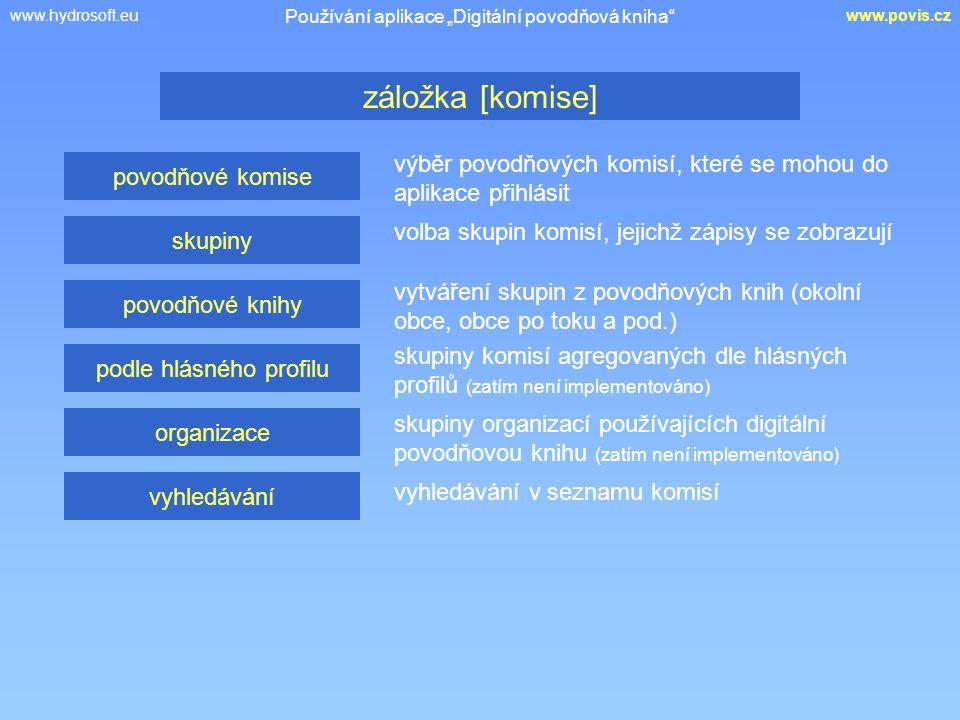 """www.hydrosoft.euwww.povis.cz výběr povodňových komisí, které se mohou do aplikace přihlásit záložka [komise] Používání aplikace """"Digitální povodňová kniha povodňové komise skupiny povodňové knihy podle hlásného profilu organizace vyhledávání volba skupin komisí, jejichž zápisy se zobrazují vytváření skupin z povodňových knih (okolní obce, obce po toku a pod.) skupiny komisí agregovaných dle hlásných profilů (zatím není implementováno) skupiny organizací používajících digitální povodňovou knihu (zatím není implementováno) vyhledávání v seznamu komisí"""