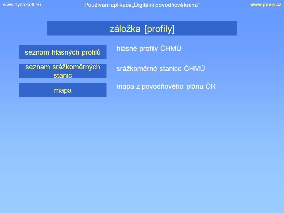 """www.hydrosoft.euwww.povis.cz hlásné profily ČHMÚ záložka [profily] Používání aplikace """"Digitální povodňová kniha"""" seznam hlásných profilů seznam srážk"""