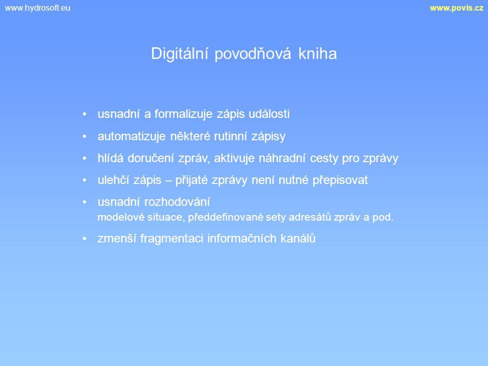 www.hydrosoft.euwww.povis.cz usnadní a formalizuje zápis události automatizuje některé rutinní zápisy hlídá doručení zpráv, aktivuje náhradní cesty pr