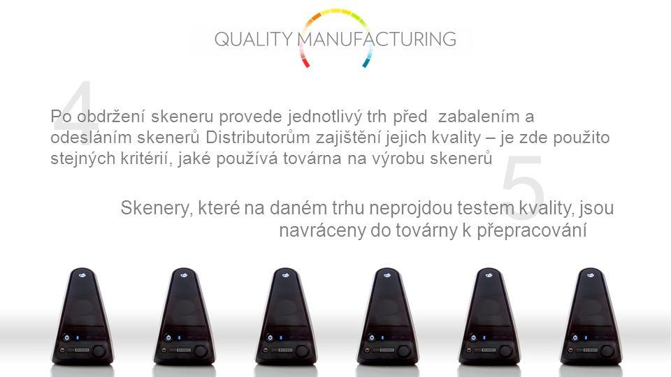 5 4 Po obdržení skeneru provede jednotlivý trh před zabalením a odesláním skenerů Distributorům zajištění jejich kvality – je zde použito stejných kritérií, jaké používá továrna na výrobu skenerů Skenery, které na daném trhu neprojdou testem kvality, jsou navráceny do továrny k přepracování