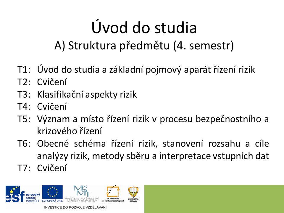 Úvod do studia A) Struktura předmětu (4. semestr) T1: Úvod do studia a základní pojmový aparát řízení rizik T2:Cvičení T3:Klasifikační aspekty rizik T