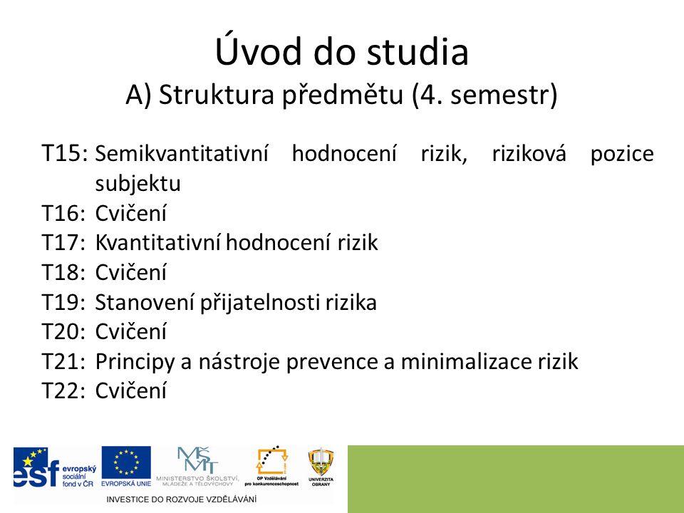 Úvod do studia A) Struktura předmětu (4. semestr) T15: Semikvantitativní hodnocení rizik, riziková pozice subjektu T16:Cvičení T17:Kvantitativní hodno