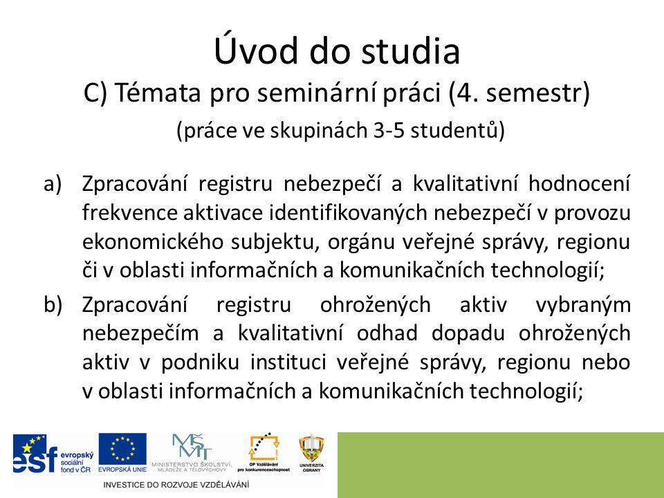 Úvod do studia C) Témata pro seminární práci (4. semestr) (práce ve skupinách 3-5 studentů) a)Zpracování registru nebezpečí a kvalitativní hodnocení f