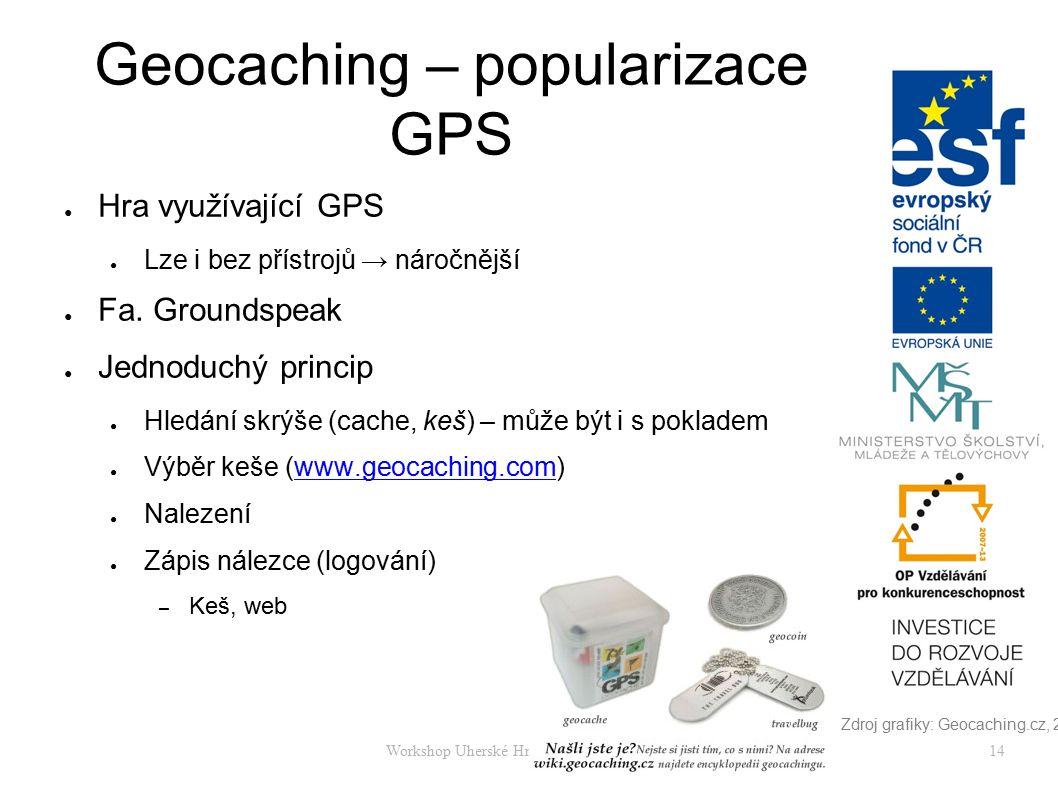 Workshop Uherské Hradiště 17. - 8. 4. 201514 Geocaching – popularizace GPS ● Hra využívající GPS ● Lze i bez přístrojů → náročnější ● Fa. Groundspeak