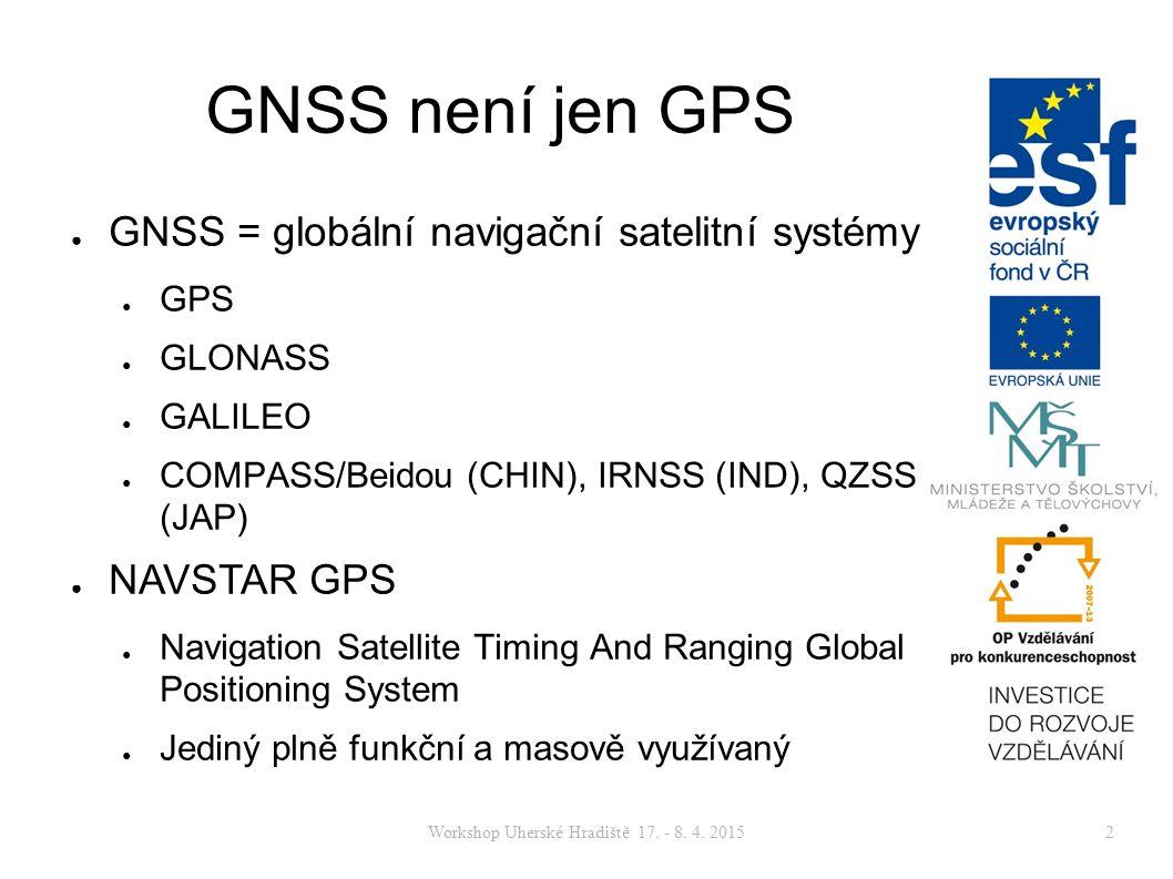 Workshop Uherské Hradiště 17. - 8. 4. 20152 GNSS není jen GPS ● GNSS = globální navigační satelitní systémy ● GPS ● GLONASS ● GALILEO ● COMPASS/Beidou
