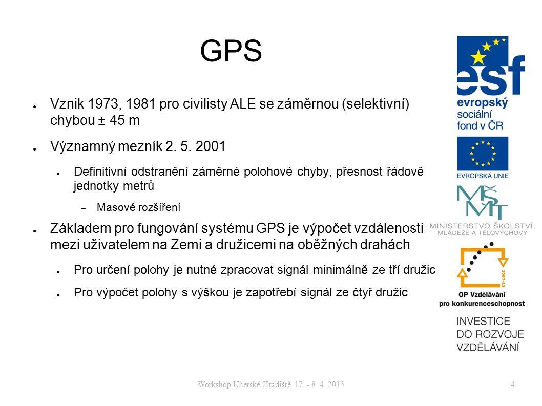 Workshop Uherské Hradiště 17. - 8. 4. 20154 GPS ● Vznik 1973, 1981 pro civilisty ALE se záměrnou (selektivní) chybou ± 45 m ● Významný mezník 2. 5. 20