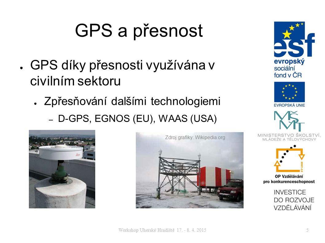 Workshop Uherské Hradiště 17. - 8. 4. 20155 GPS a přesnost ● GPS díky přesnosti využívána v civilním sektoru ● Zpřesňování dalšími technologiemi – D-G