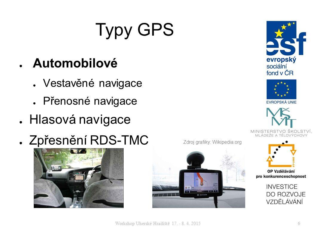 Workshop Uherské Hradiště 17. - 8. 4. 20156 Typy GPS ● Automobilové ● Vestavěné navigace ● Přenosné navigace ● Hlasová navigace ● Zpřesnění RDS-TMC Zd