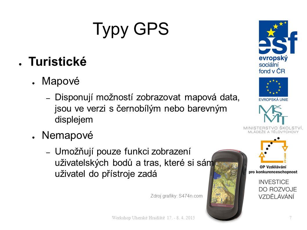 Workshop Uherské Hradiště 17. - 8. 4. 20157 Typy GPS ● Turistické ● Mapové – Disponují možností zobrazovat mapová data, jsou ve verzi s černobílým neb