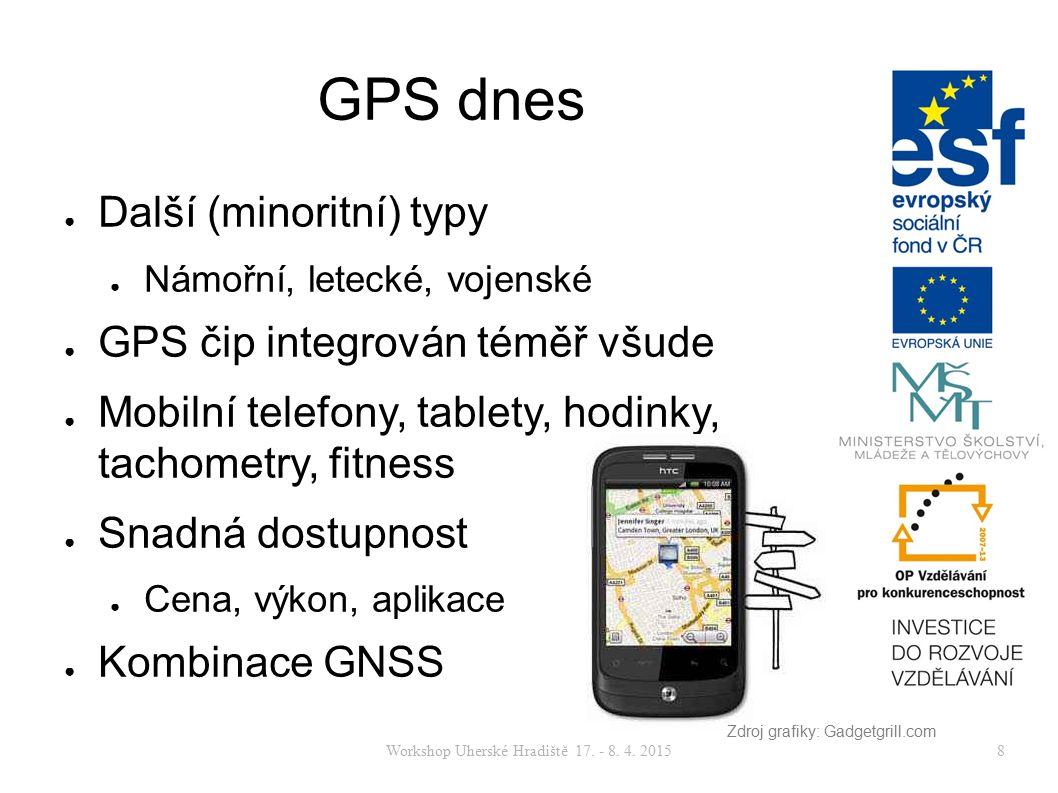 Workshop Uherské Hradiště 17. - 8. 4. 20158 GPS dnes ● Další (minoritní) typy ● Námořní, letecké, vojenské ● GPS čip integrován téměř všude ● Mobilní