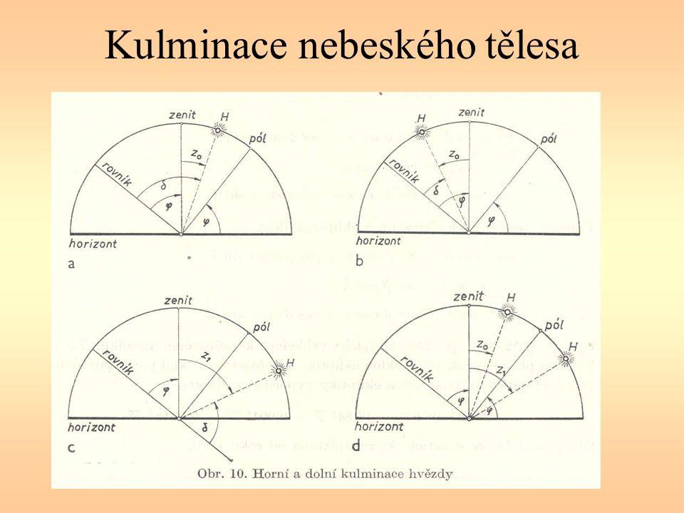 Souřadnice rovníkové (ekvatoreální) rektascenze α hodinový úhel t deklinace δ rektascenzi a hodinový úhel vyjadřujeme v časových jednotkách, tj.