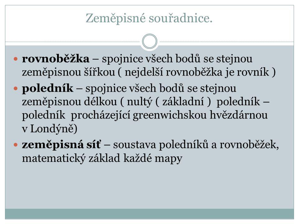 Zeměpisné souřadnice.