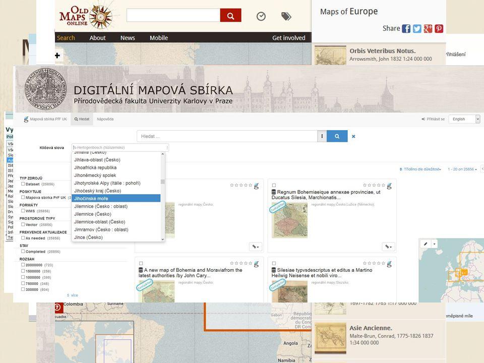  Digitalizované mapy  62 000 listů  Katalog UK  Mapovasbirka.cz  Repozitar.cuni.cz  Oldmapsonline.org  Staremapy.cz